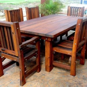 "San Francisco Patio Table (Options: 8' L, 46"" W Tabletop, Chairs, Old-Growth Redwood, 6 Chairs, Ruth Chair Design, 2 Armchairs & Side Chairs, No Cushions, Standard Tabletop, Rounded Corners, Umbrella Hole, Transparent Premium Sealant)."