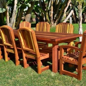 "San Francisco Patio Table (Options: 10' L, 34 1/2"" W Tabletop, Chairs, Redwood, 8 Chairs, Ruth, 2 Armchairs + Side Chairs, No Cushions, Old-Country Tabletop - Standard, Squared Corners, No Umbrella Hole, Transparent Premium Sealant)."