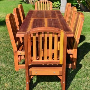 """San Francisco Patio Table (Options: 10' L, 34 1/2"""" W Tabletop, Chairs, Redwood, 8 Chairs, Ruth, 2 Armchairs + Side Chairs, No Cushions, Old-Country Tabletop - Standard, Squared Corners, No Umbrella Hole, Transparent Premium Sealant)."""