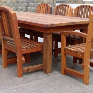 "San Francisco Patio Table (Options: 8' L, 46"" W Tabletop, Chairs, Mature Redwood, 8 Chairs, Luna Chair Design, 2 Armchairs & Side Chairs, No Cushions, Standard Tabletop, Rounded Corners, No Umbrella Hole, Transparent Premium Sealant)."