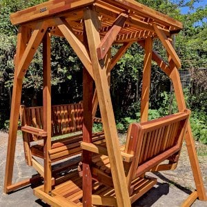 Santa Rosa Face to Face Glider (Adult Size, Mosaic Eco-Wood, No Kid's Platform, No Engraving, Transparent Premium Sealant). Photo Courtesy of A. McChesney-Young of Berkeley, California.