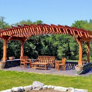 Sebastopol Pergolas (Options: 14' L x 22' Arc W, California Redwood, Transparent Premium Sealant). Photo Courtesy of Peter King of Shaftsbury, Vermont.