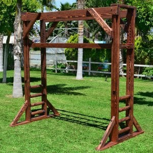 Sheldon's Monkey Bar (Options: 8ft H, 8ft L, Douglas-fir, 3/4-inch Diameter Rungs Spaced 8 inches Apart, Round Step Option, Transparent Premium Sealant).