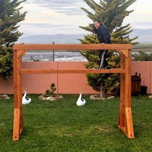 Sheldon's Monkey Bar (Options: 8 ft H, 108.5 ft L, Douglas-fir, Standard Step Option, Transparent Premium Sealant).