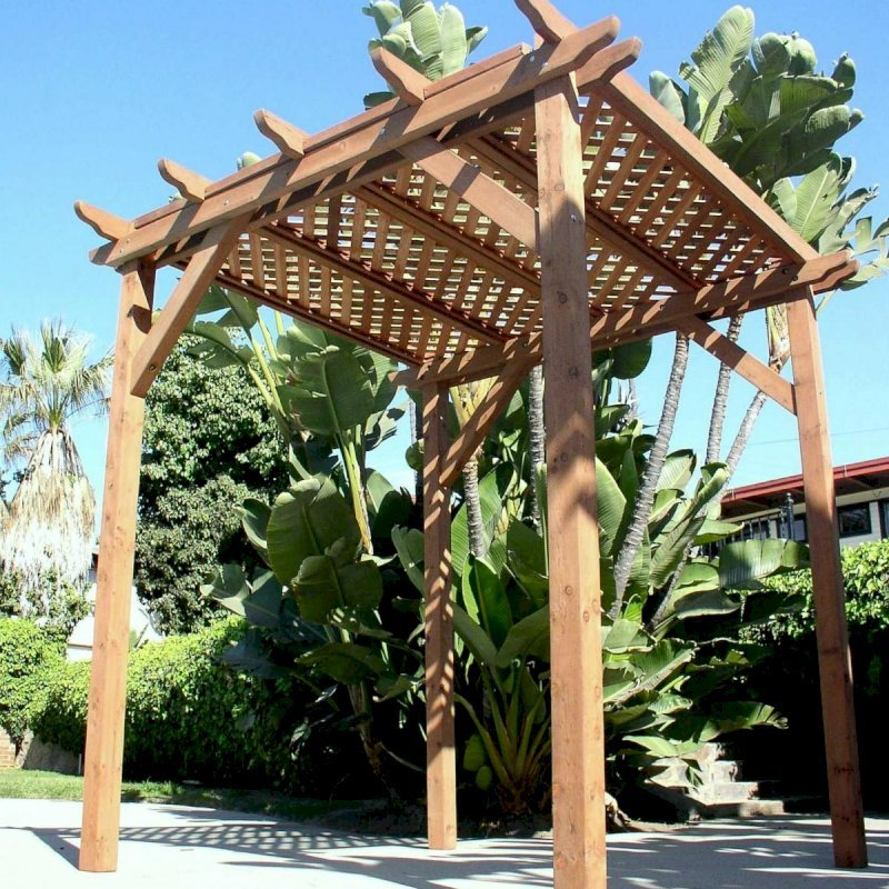Small Pergola (Options: 8' x 8', Garden Type, Standard Timbers, Mature Redwood, Lattice Roof, 9 ft Post Height, No Anchor Kit, No Ceiling Fan Base, No Privacy Panels, No Curtain Rods, Transparent Premium Sealant).