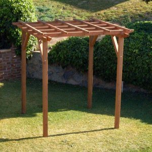 "Small Pergola (Options: 8' x 8', Garden Type, Standard Timbers, Mature Redwood, Open Roof with Slats at 18"", Rafters at 18"", 9 ft Post Height, No Post Anchor Kit, No Ceiling Fan Base, No Privacy Panels, No Curtain Rods, Transparent Premium Sealant)."