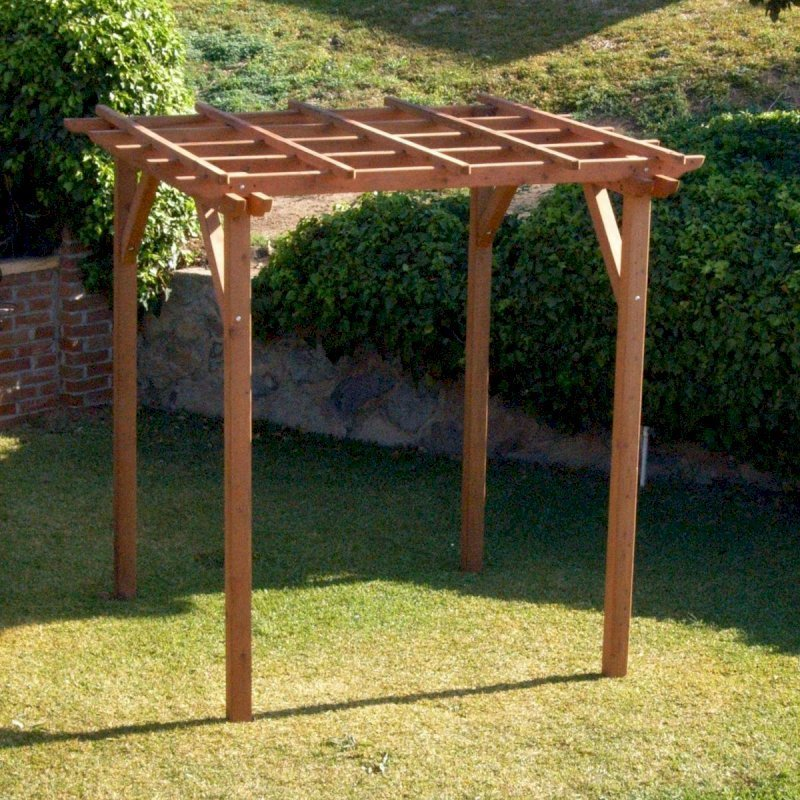"""Small Pergola (Options: 8' x 8', Garden Type, Standard Timbers, Mature Redwood, Open Roof with Slats at 18"""", Rafters at 18"""", 9 ft Post Height, No Post Anchor Kit, No Ceiling Fan Base, No Privacy Panels, No Curtain Rods, Transparent Premium Sealant)."""