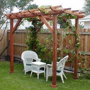 "Small Pergola (Options: 10' x 6', Garden Type, Standard Timbers, Mature Redwood, Open Roof with Slats at 18"", Rafters at 18"", Widthwise Roof Support Timbers, 9 ft Post Height, 4-Post Anchor Kit for Stone, No Ceiling Fan Base, No Privacy Panels, No Curtain Rods, Transparent Premium Sealant)."