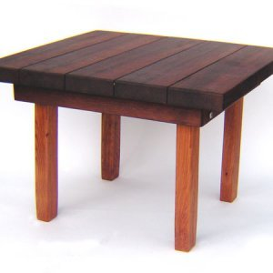 "Square Side Table (Options: 30"" Size, Old-Growth Redwood, Squared Corners, 18"" H, Coffee Stain on top,Transparent Premium Sealant on legs)."