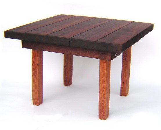 """Square Side Table (Options: 30"""" Size, Old-Growth Redwood, Squared Corners, 18"""" H, Coffee Stain on top,Transparent Premium Sealant on legs)."""