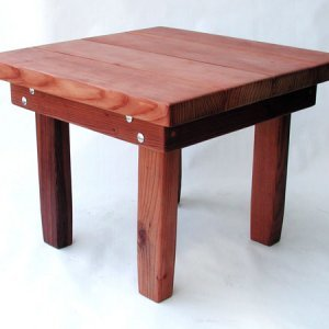 "Square Side Table (Options: 24"" Size, Mature Redwood, Squared Corners, 18"" H, Transparent Premium Sealant)."