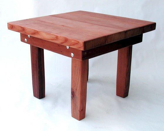 "Square Side Table (Options: 24"" Size, Mature Redwood, Squared Corners, 18"" H, Transparent Premium Sealant)."