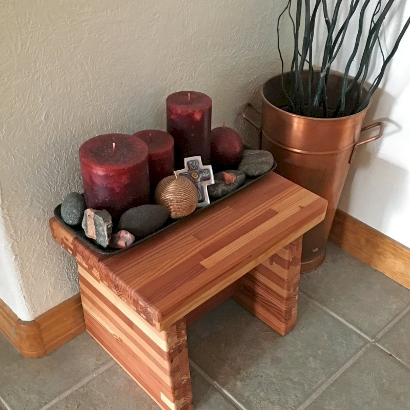 "Small Foot Stool (Options: Mosaic Eco-Wood, 12"" H, No Engraving, Transparent Premium Sealant). Photo Courtesy of P. Helger of Pueblo West, CO."