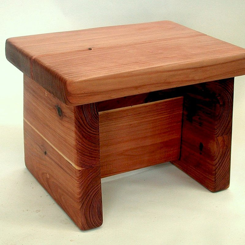 "Small Foot Stool (Options: Mature Redwood, 10"" H, No Engraving, Transparent Premium Sealant)"