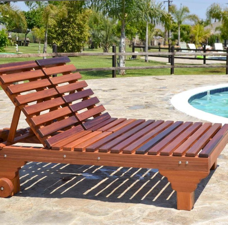 "Sol Lounger (Options: Double, Standard 74"", Mature Redwood, 15.5H, Include Wooden Wheels, No Cushion, Transparent Premium Sealant)."
