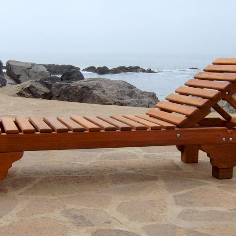 "Sol Chaise Lounger (Options: Single, Standard 74"", Old-Growth Redwood, 13"" H, No Wheels, No Cushion, Transparent Premium Sealant)."