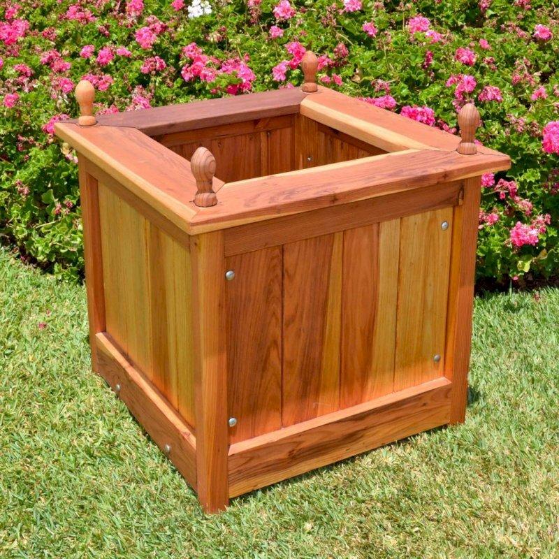 "Sonoma Finial Planter (Options: 24"" L, 24"" W x 24"" H, Redwood, Oval Finials, Feet, No Trellis, No Growing Vegetables, Transparent Premium Sealant)."