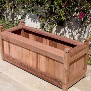 "Sonoma Finial Planter (Options: 36"" L, 18"" W x 18"" H, Old-Growth Redwood, Square Finials, Feet, No Trellis, No Growing Vegtables, Transparent Premium Sealant)."