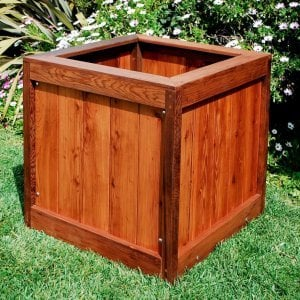 "Sonoma Planter (Options: 36"" L, 36"" W x 36"" H, Old-Growth Redwood, No Sitting Ledge, No Feet, No Trellis, No Growing Vegetables, Transparent Premium Sealant)."