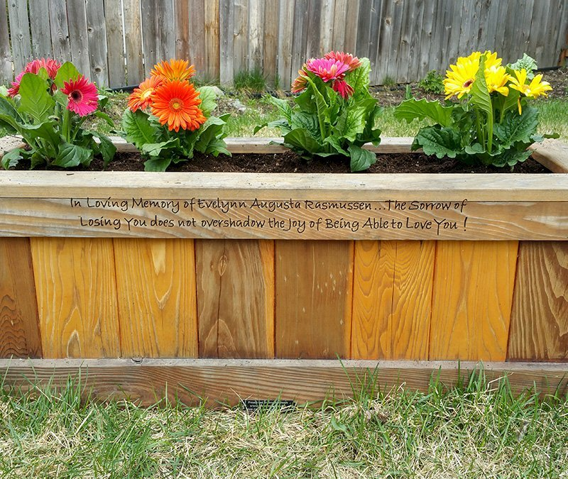 "Sonoma Planter (Options: 48"" L, 18"" W x 18"" H, Redwood, No Seating Ledge, 1"" Feet, No Trellis, Custom Engraving, No Growing Vegetables, Transparent Premium Sealant). Photo Courtesy of Rebecca Rasmussen of Anchorage, Alaska. Faded finish is because photo taken 4 years after it was built."