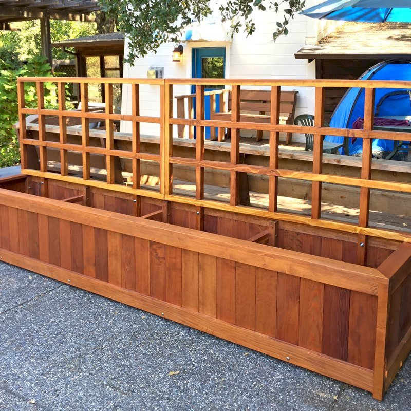 "Sonoma Planter (Options: 144"" L, 24"" W x 24"" H, Redwood, No Seating Ledge, 1"" Feet, 3-ft Tall Trellis, No Growing Vegetables, Transparent Premium Sealant). Photo Courtesy of B. Smith of Sonoma, CA."