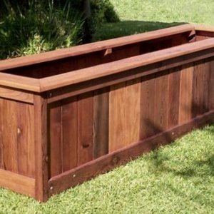 "Sonoma Planter (Options: 96"" L, 24"" W x 24"" H, Old-Growth Redwood, Seating Ledge, No Feet, No Trellis, No Growing Vegetables, Unfinished)."