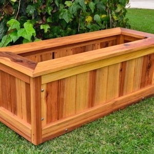 "Sonoma Planter (Options: 48"" L, 24"" W x 24"" H, Redwood, Add Seating Ledge, No Feet, No Trellis, No Growing Vegetables, Transparent Premium Sealant)."