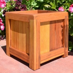 "Sonoma Planter [CUSTOM] (Options: 12"" L, 12"" W x 12"" H, Redwood, 1-inch Feet, No Trellis, No Seating Ledge, Transparent Premium Sealant)."