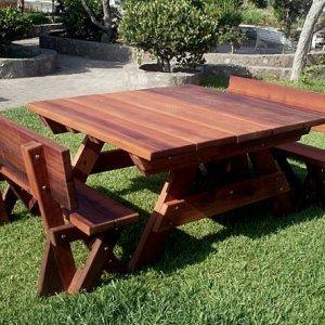 Heritage Picnic Table (Options: 5' Size, Fullback Benches, Standard Tabletop, Squared Corners, Standard Leg Flair, No Umbrella Hole, Transparent Premium Sealant).
