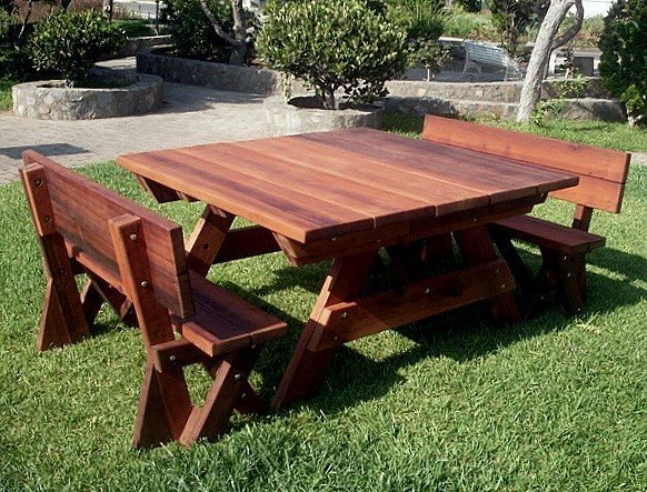 Square Heritage Large Wooden Picnic Table - Large wooden picnic table