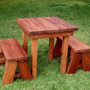 Square Patio Table (Options: 2.5', Side Benches, Mature Redwood, Classic Forever Benches, Standard tabletop option, Slightly Rounded Corners, No Umbrella Hole, Transparent Premium Sealant).