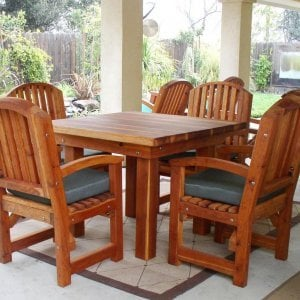 Square Patio Table (Options: 3.5', 4 Chairs, Redwood, Luna Style Chairs, Armchairs Only, Cushions, Seamless tabletop option, Squared corners, No Umbrella Hole, Transparent Premium Sealant). Luna and Ensenada Rockers partly visible in background.