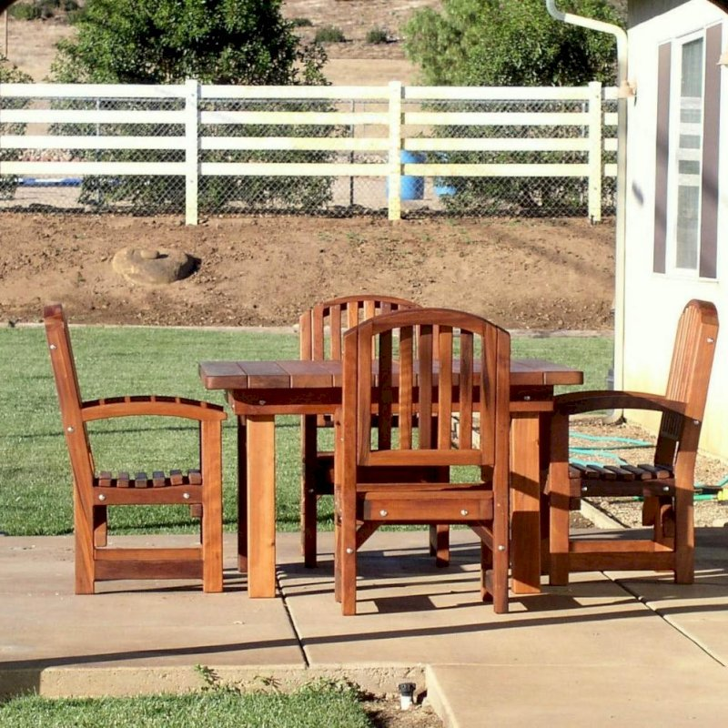 Square Patio Table (Options: 4.5', 4 Chairs, Mature Redwood, Luna Style Chairs, Armchairs Only, No Cushions, Standard tabletop option, Slightly Rounded corners, No Umbrella Hole, Transparent Premium Sealant).