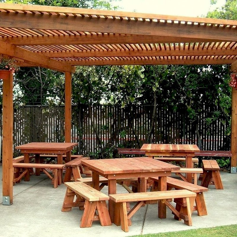 Comparing Wood Grades: Square Patio Tables (Options: 4', Side Benches, Left: Mature Redwood, Center & Right: Redwood, Standard Tabletop, Squared Corners, No Umbrella Hole, Transparent Premium Sealant).