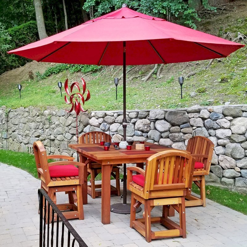 Square Patio Table (Options: 4', 4 Chairs, Redwood, Vera's Armchair by Custom Request, Custom Cushions, Standard Tabletop, Slightly Rounded corners, No Umbrella Hole, Transparent Premium Sealant). Photo Courtesy of Lydia Triplett of Newton, Massachusetts.