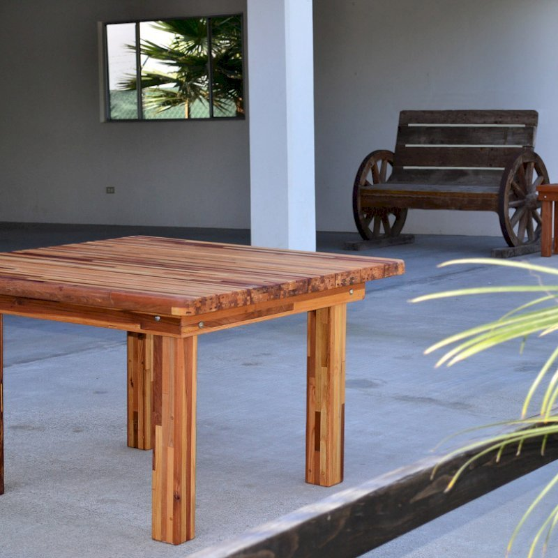 Square Patio Table (Options: 4', No Seating, Mosaic Eco-Wood, Standard tabletop, Rounded Corners, No Umbrella Hole, Transparent Premium Sealant). Photo shows side table in background.