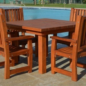 Square Patio Table (Options: 4', 4 Chairs, Old-Growth Redwood, Ruth Style Chairs, Armchairs Only, No Cushions, Standard Tabletop, Squared Corners, Umbrella Hole, Transparent Premium Sealant).