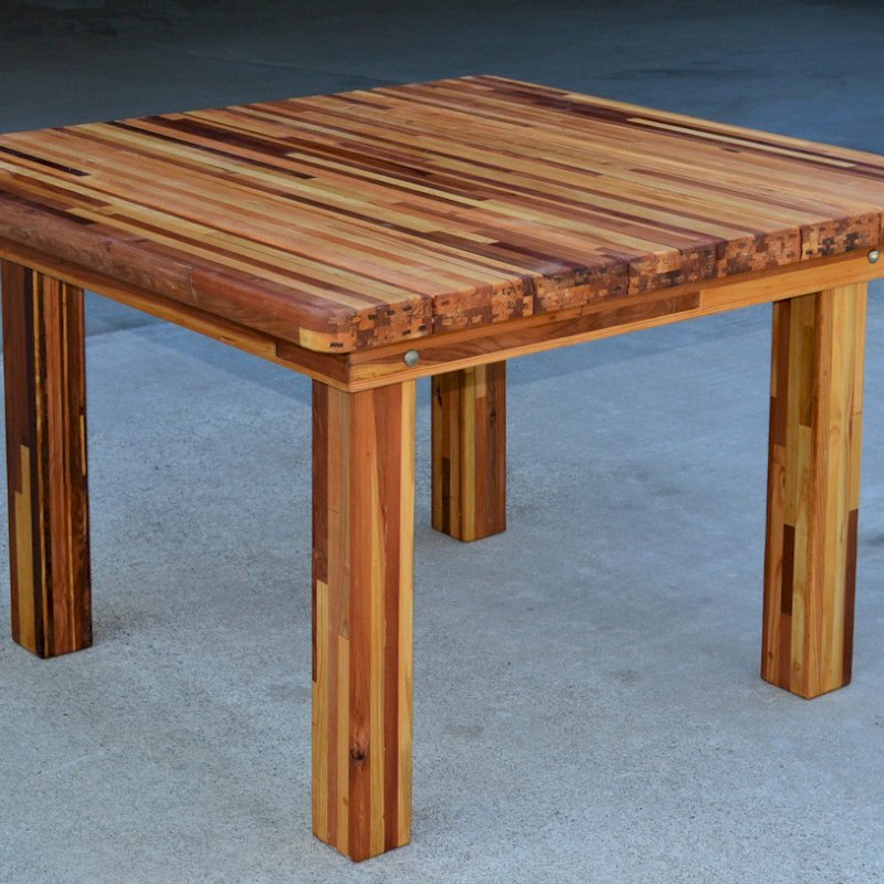 Square Patio Table (Options: 4', No Seating, Mosaic Eco-Wood, Standard tabletop, Rounded Corners, No Umbrella Hole, Transparent Premium Sealant).