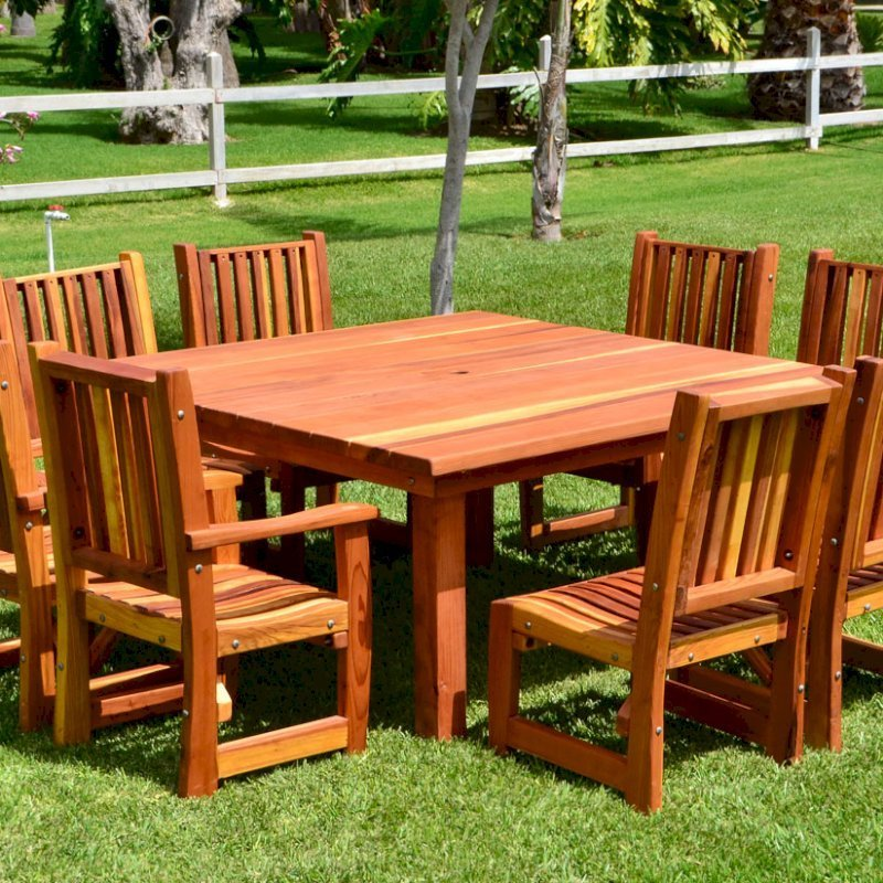 Square Patio Table (Options: 5.5', 8 Chairs, Redwood, Ruth Chairs, Combination of Armchairs and Side Chairs, No Cushions, Standard Tabletop, Slightly Rounded Corners, Umbrella Hole, Transparent Premium Sealant).