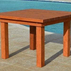 Square Patio Table (Options: 4', No Seating, Old-Growth Redwood, Standard tabletop, Square Corners, Umbrella Hole, Transparent Premium Sealant).
