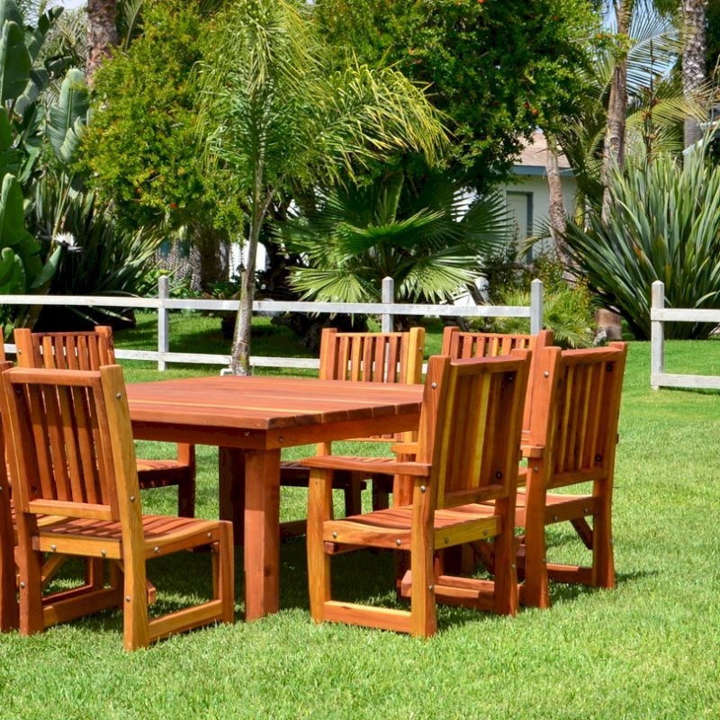 Square Patio Table (Options: 5.5', 8 Chairs, Redwood, Ruth Chairs, Combination of Armchairs and Side Chairs, No Cushions, Standard Tabletop, Slightly Rounded Corners, Umbrella Hole, Transparent Premium Sealant). Photo also shows a Wishing Wells in background.