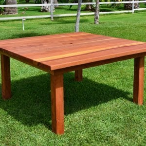 Square Patio Table (Options: 5.5', No Seating, Redwood, Standard Tabletop, Slightly Rounded Corners, Umbrella Hole, Transparent Premium Sealant).