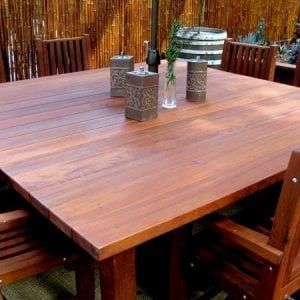 Square Patio Table (Options: 6.5', 8 Chairs, Old-Growth Redwood, Ruth Style Chairs, Armchairs Only, No Cushions, Standard Tabletop Option, Squared corners, No Umbrella Hole, Transparent Premium Sealant).