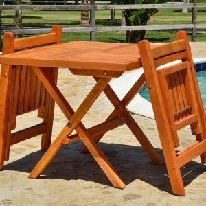 Square Folding Table (Options: 2 Folding Chairs, Douglas-fir, No Cushions, Standard Tabletop, Checkerboard Design, Rounded Corners, No Umbrella Hole, Transparent Premium Sealant). Photo Courtesy of El Laurel, Ensenada, Mexico.