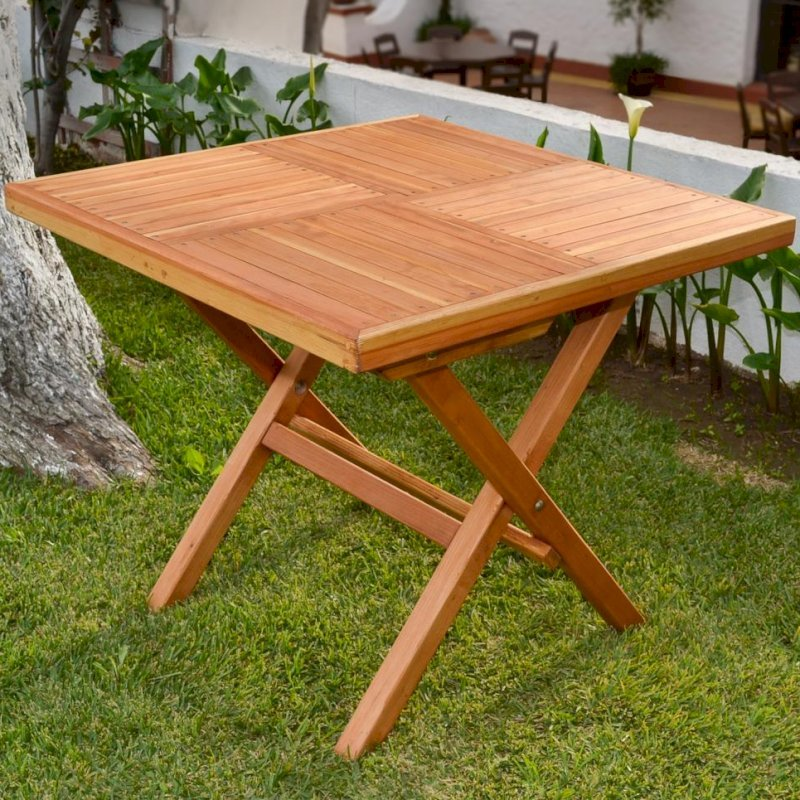 Square Folding Table (Options: No Seating, Redwood, Standard Tabletop, Checkerboard Design Tabletop, Slightly Rounded Corners, No Umbrella Hole, Transparent Premium Sealant).