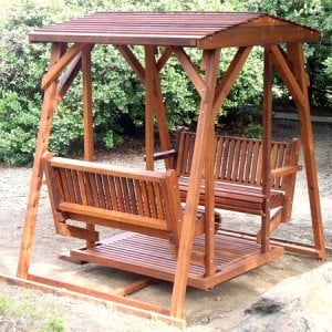 St. Anthony's Glider (Adult Size, Mature Redwood, No Kid's Platform, Standard Closed Roof, No Engraving, Transparent Premium Sealant).