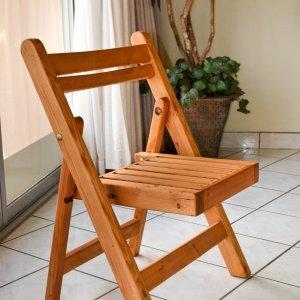 Folding Chair (Options: Douglas-Fir, No Cushion, Transparent Premium Sealant).