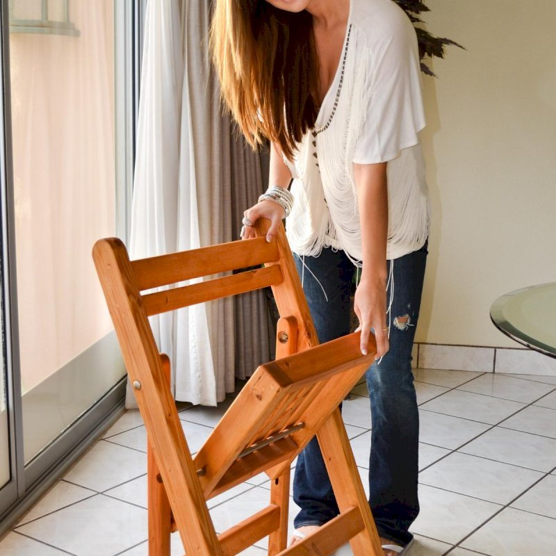Folding Chair (Options: Douglas-Fir, No Cushion, Transparent Premium Sealant).  Photo Courtesy of Ms. Hayley Hall of Sonoma, CA.