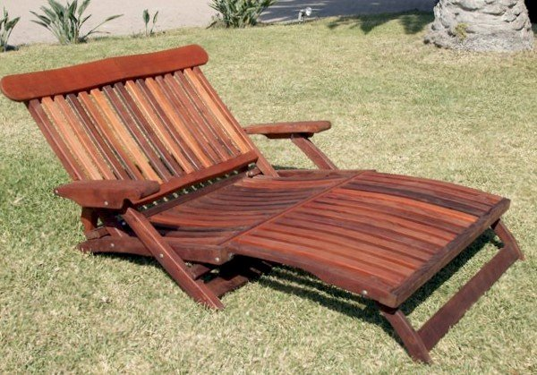 Steamer Chaise Lounger (Options: Double, Old-Growth Redwood,  No Cushion, No Wheels, Transparent Premium Sealant)