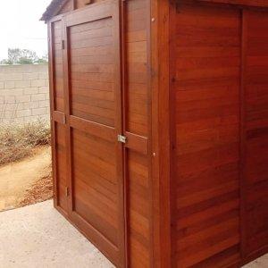 Storage Mini Barn (Options: 6' W, 8' D, 7' H, Mature Redwood, Single Door Opening Out, Standard Door, Transparent Premium Sealant).